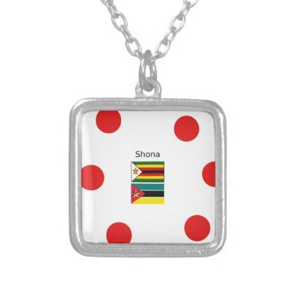 Shona Language And Zimbabwe and Mozambique Flags Silver Plated Necklace - jewelry jewellery unique special diy gift present
