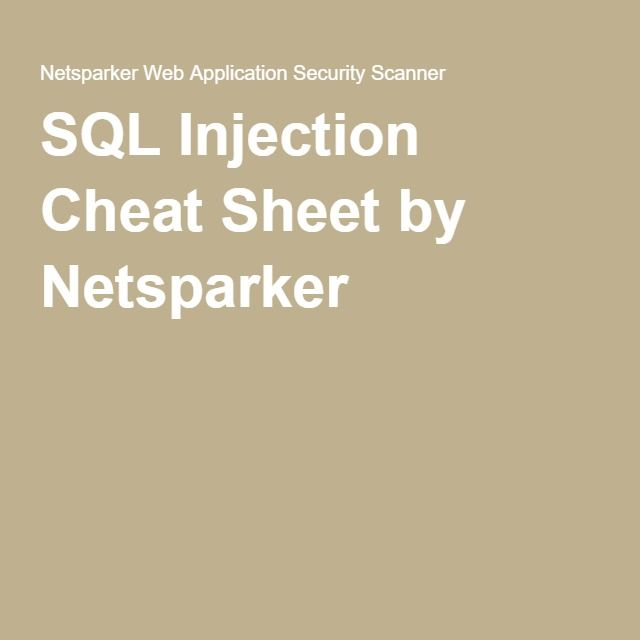 SQL Injection Cheat Sheet by Netsparker