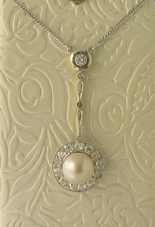 Antique 18ct Gold Natural Pearl and Diamond Pendant - $5,350-