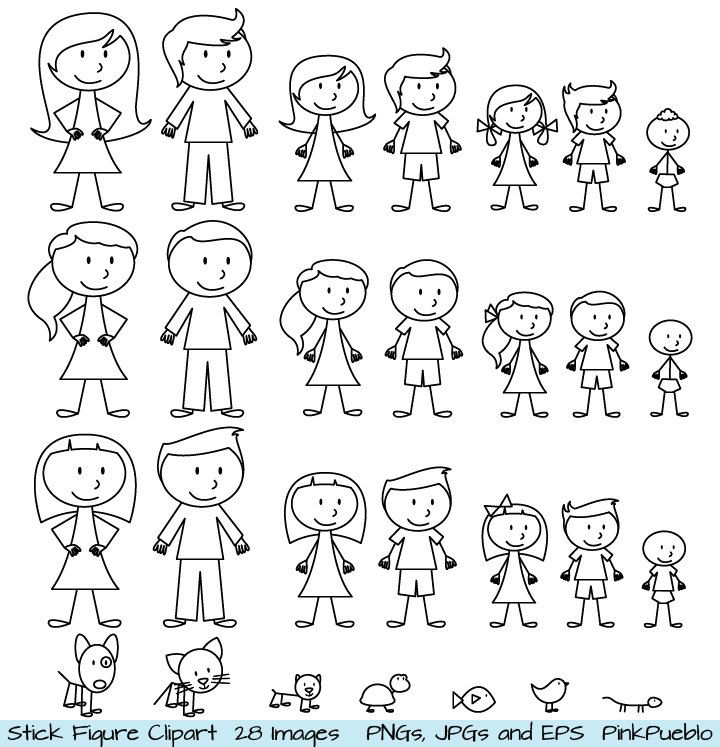 Stick Figure Clipart Clip Art, Stick People Family and Pets Clipart Clip Art - Commercial and Personal Use.