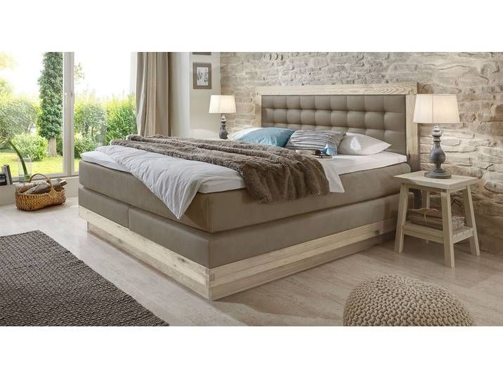 Box Spring Bed Solid Wood Galicia 140x220 Cm Taupe H2