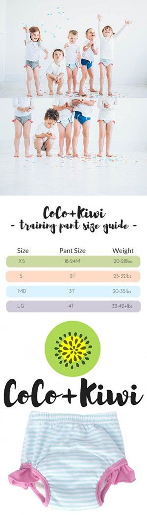 """Coco and Kiwi """"My First Undies"""" Girls' - MINT - Reusable Pull-on Baby and Toddler Underwear + Potty Training Pants (Small)"""