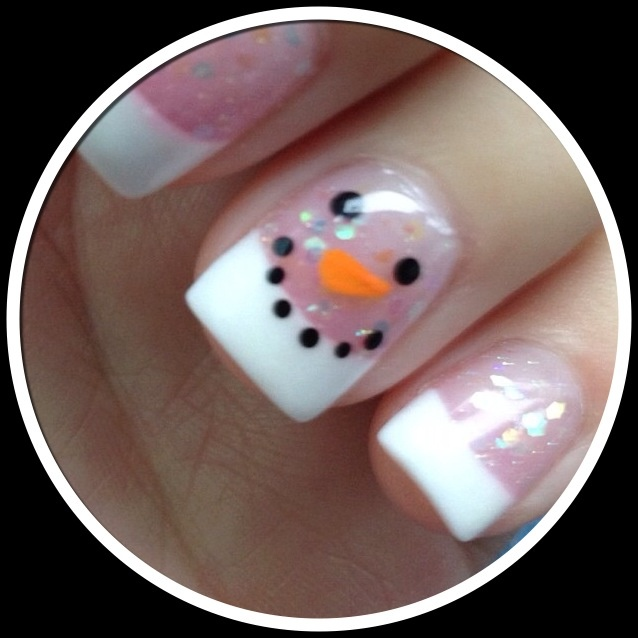 Shiny, happy snowman nails by Callie! ;)