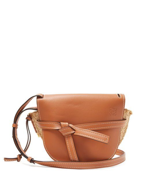 Loewe Gate leather and raffia cross body bag | Crossbody bag