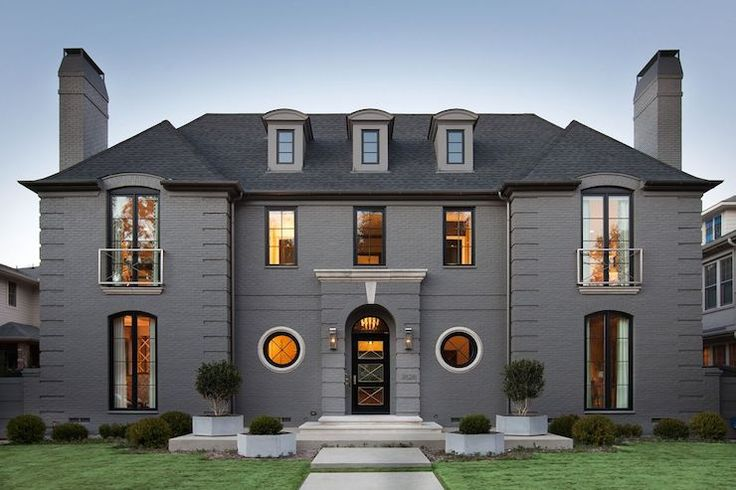 Gray Stone Home Exterior Transitional Home Exterior D