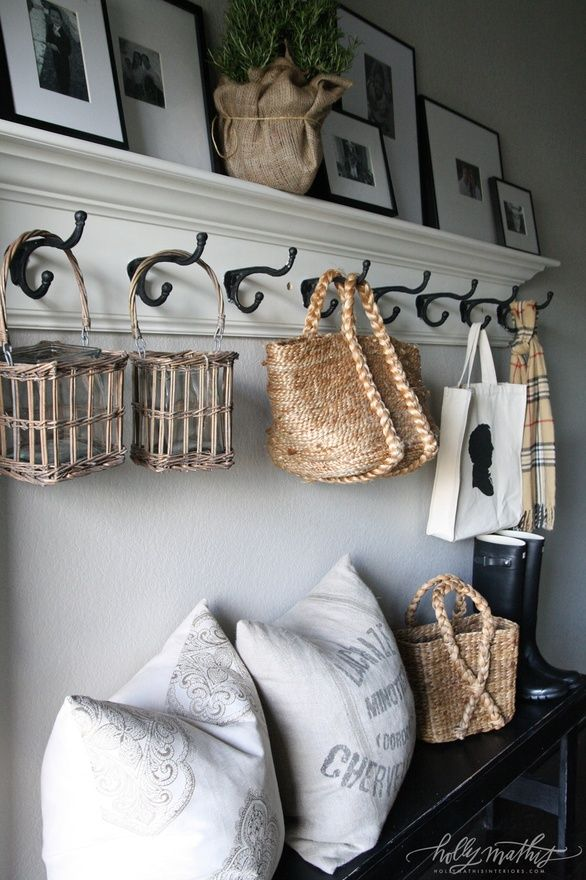 entry way...like picture frames and coat hooks and bench