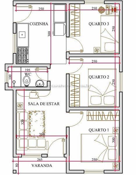 Plano de casa chica de sólo 44 metros cuadrados y 3 dormitorios