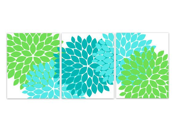 Home Decor Wall Art Instant Download Aqua And Green Flower Burst Art Bathroom Wall