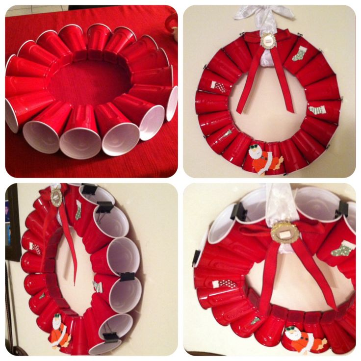 Just finished doing this red solo party cup wreath