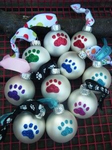 glitter christmas ornaments | Glitter Paw Print Ornaments | Shop food | Kaboodle