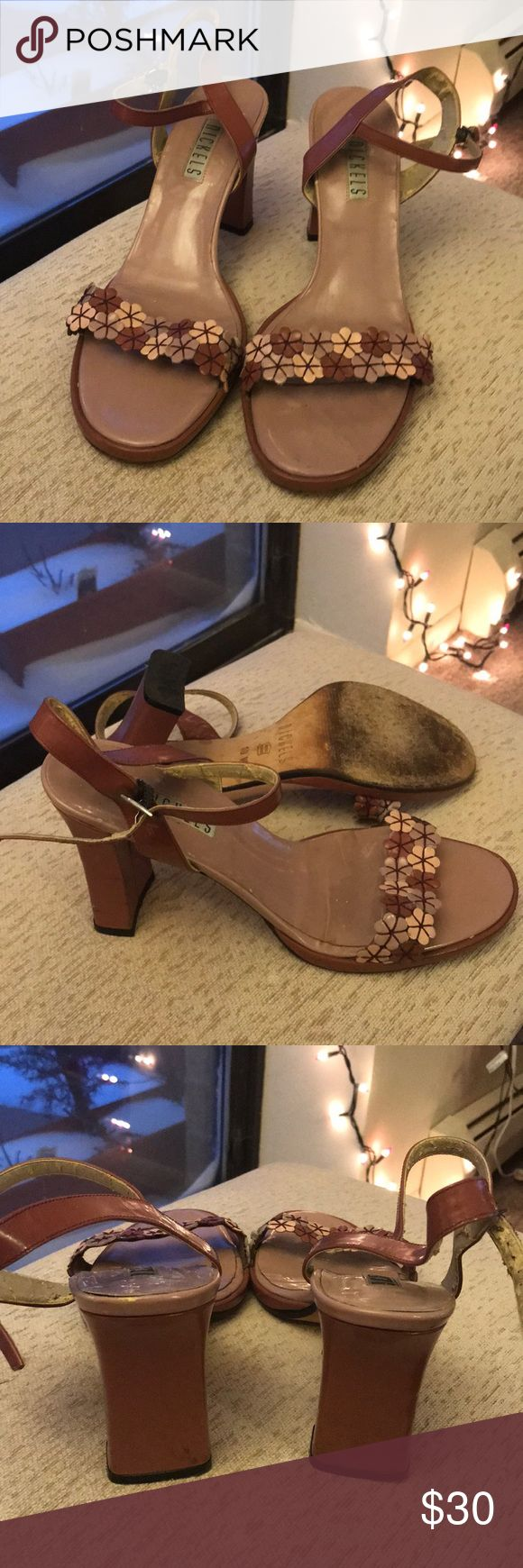 """Floral Heeled Sandals 3"""" Heeled Floral Sandals with Block Heel and Floral Leather Decorated Toe Strap. Overall in good condition. Scuffing on interior and exterior of toe box as well as back of block heels. Leather cracking on interior of ankle strap closure. Nickels Shoes Sandals"""