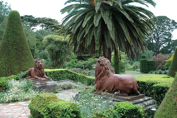 Narrapumelap, Wickliffe, Victoria. The gardens and bronze lions.