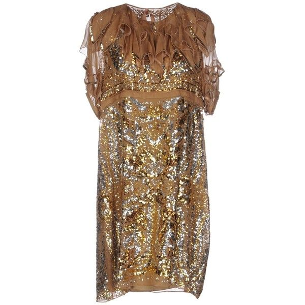 N° 21 Short Dress (755,600 KRW) ❤ liked on Polyvore featuring dresses, camel, short-sleeve dresses, short sleeve sequin dress, sequined dress, camel dress and mini dress