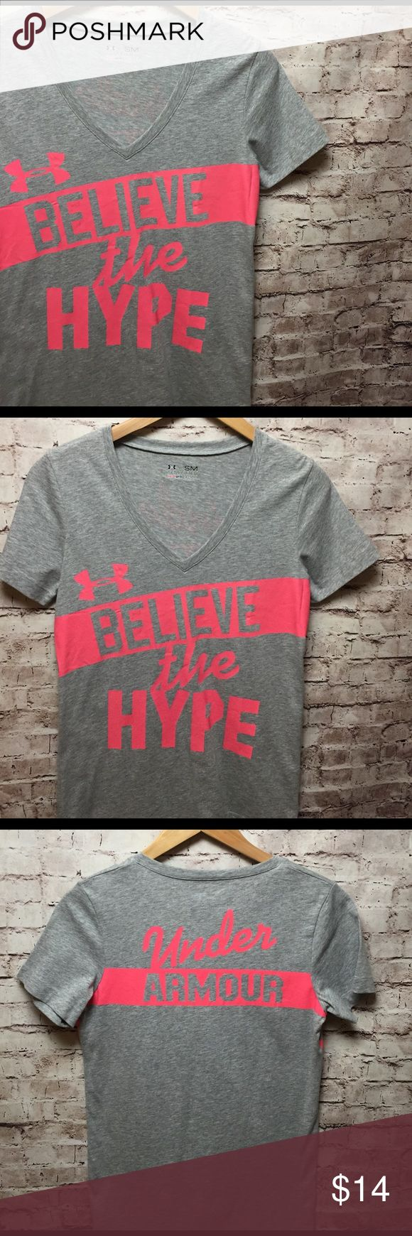 """Final Price DROP ⬇️ Under Armour Tee """"Believe the Hype"""" - Under Armour Tee ... Heat Gear ... semi-fitted ... Size Small ... Never worn! Excellent condition! Gray with Pink silk screen print on front and back. Get your workout started today! Under Armour Tops Tees - Short Sleeve"""