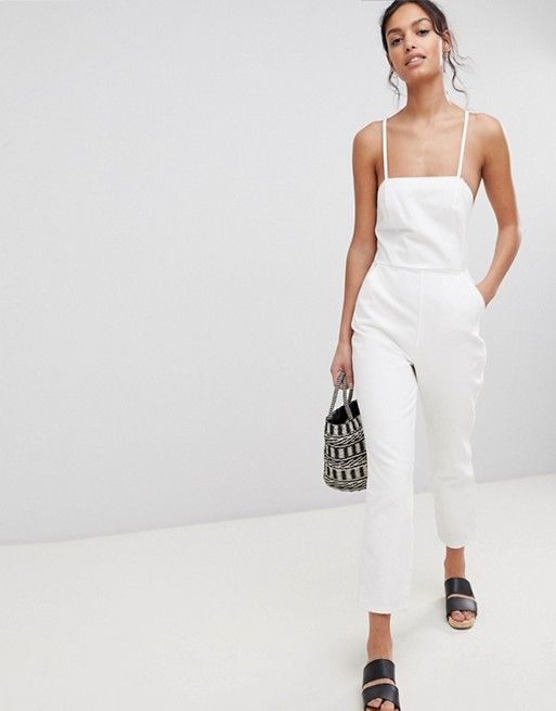 f72c85ffb1 DESIGN denim halterneck jumpsuit in white in 2019