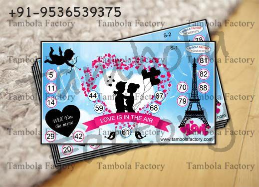 Love is in the Air Heart Valentine Couple Printed Tambola Ticket Roses are red, violets are blue, I don't know the history of Valentine's Day … do you? February 14th is the time of year when couples celebrate this special occasion with romance. With this special day around the corner, let's play this lovable tambola housie game with your friends and family and spread love all over the town.