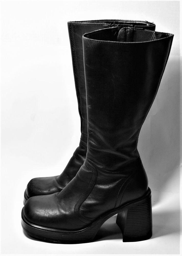 a6401f831f1f5 STEVE MADDEN SHOES VINTAGE 90S BOXER BLACK LEATHER BOOTS CHUNKY HEEL  PLATFORM 9  SteveMadden  platformboots  Casual