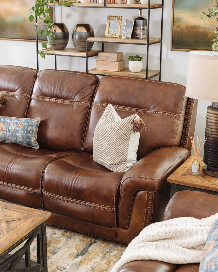 NailheadAccented Leather Power Reclining Sofa in Brown