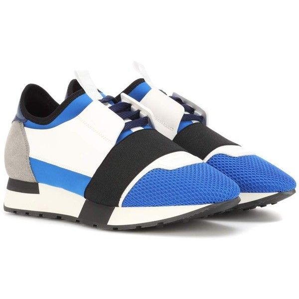 Balenciaga Leather-Trimmed Sneakers ($545) ❤ liked on Polyvore featuring shoes, sneakers, multicoloured, balenciaga shoes, balenciaga sneakers, colorful shoes, white trainers and multicolor sneakers