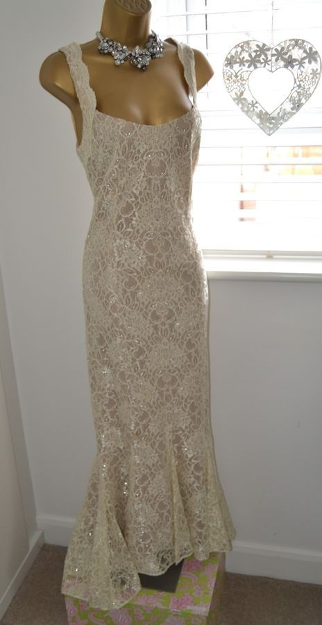 349b31a45e DAMIANOU ~ ~ Cream   Nude Lace Dress Suit Size M 14 - 16 Mother of ...