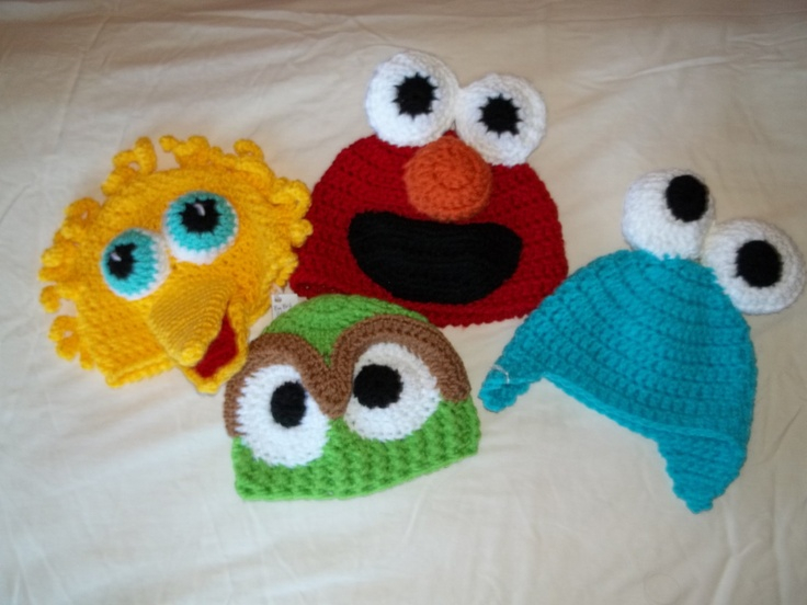 Sesame Street Baby Hats Photography Props Costume Big Bird, Elmo, Oscar the Grouch, Cookie Monster. $25.00, via Etsy.