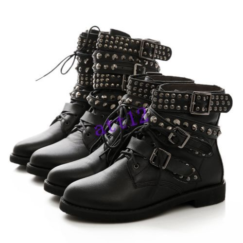 Punk Hip Pop Womens Buckle Strap Lace Up Rivet Studded Combat Ankle Boot Plus Sz in Clothing, Shoes & Accessories, Women's Shoes, Boots | eBay