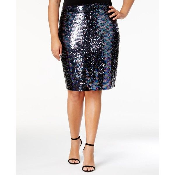 Soprano Trendy Plus Size Sequined Pencil Skirt ($59) ❤ liked on Polyvore featuring plus size women's fashion, plus size clothing, plus size skirts, neptune, womens plus size skirts, white skirt, white pencil skirts, colorful pencil skirt and sparkly pencil skirt