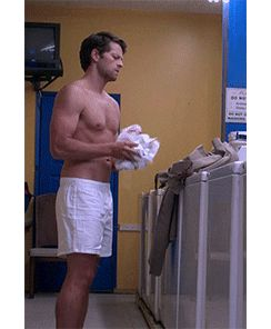 *does laundry, but like in a 'angel who lost his grace and fell from heaven' way* Ooh, look at his pec flex. Yummy...never noticed the pec flex before and now it is all I see!
