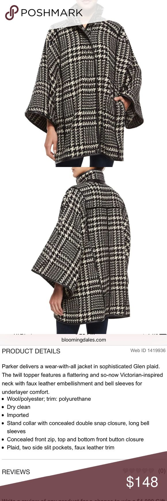 Parker Houndstooth Coat Parker Coat with oversized fit. Size M. Unlined with faux leather trim. Worn once, like new condition. Parker Jackets & Coats Capes