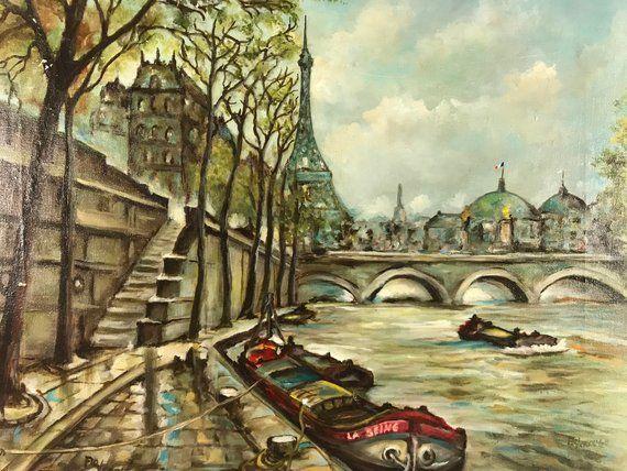 Vintage Paris France Original Painting Eiffel Tower River Seine Left Bank   Oil on Canvas   12×16   Signed