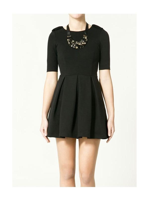 black short sleeve round neck high waist dress -