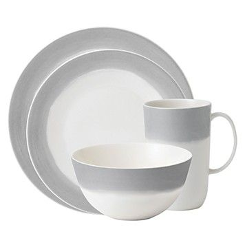 A watercolor wash of gradient gray migrates toward a warm neutral center to create an organic ombre effect on these durable, adaptable dishes from Vera Wang. | Porcelain | Microwave and dishwasher saf