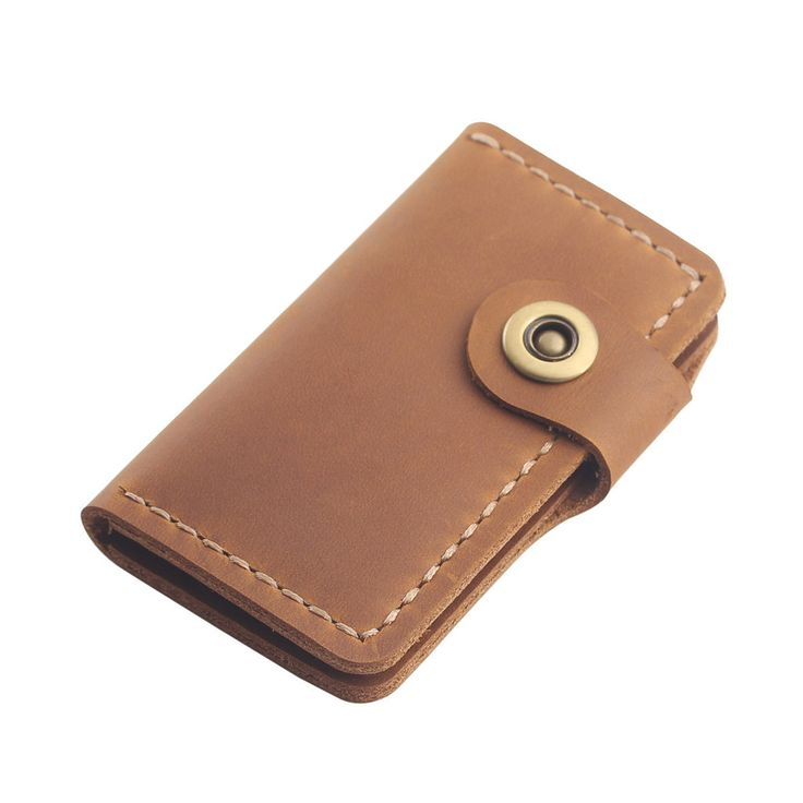 Men's Leather Key Wallet - Hand-Stitched Leather Key Holder - Minimalist Key Wallet