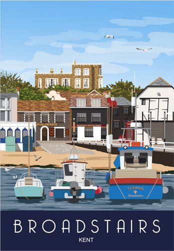 Broadstairs with Bleak House in the background. Railway Poster style Illustration by www.whiteonesugar.co.uk Nigel Wallace