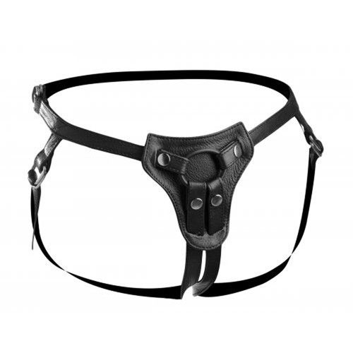 Premium All Access Leather Strap On Harness – Sexy Vibes