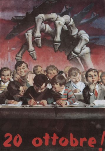 Italian poster, Gino Boccasile: October 20! (Poster refers to the death of the innocents; the 200 - 300 children in the Goria district of Milan who were killed during a bombing raid on October 20th, 1944.)