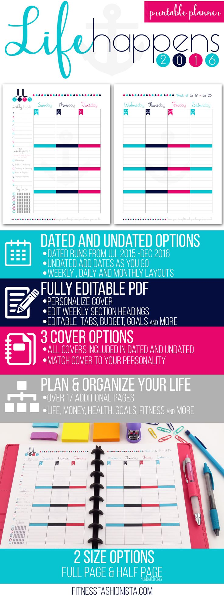 Life Happens Printable Planner - Fully Editable, Dated and Undated Options, 3 Cover Options.  Now you can plan and organize your entire life.