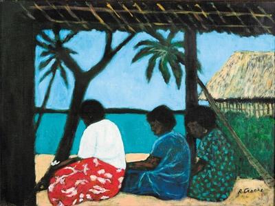 Ray Crooke - Island Women near Hut
