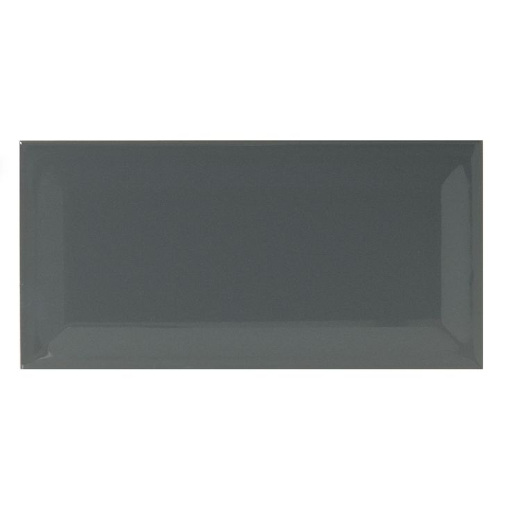 Underground Black Ceramic Wall Tile Pack Of 50 L 200mm: Bevelled Edge Charcoal Gloss Bevelled Edge Ceramic Wall