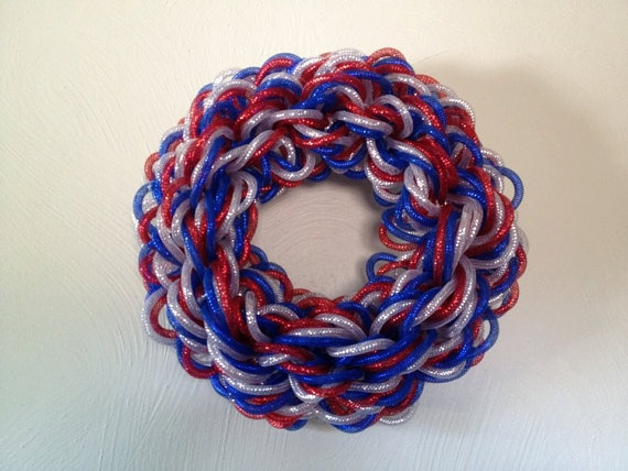 "15"" Patriotic Mesh Wreath. Red, silver and blue deco mesh tubing wreath"