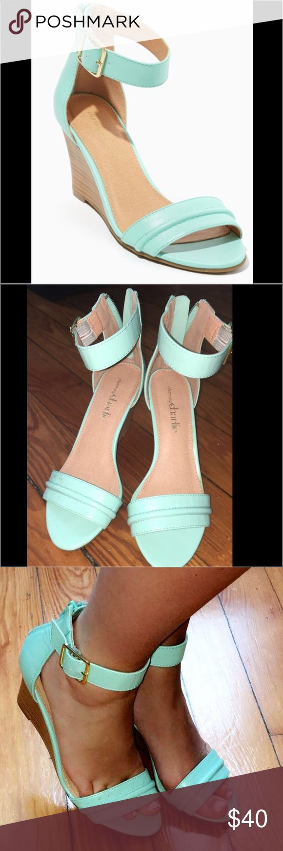 Charming Charlie  strappy wedge heels 👠 Charming Charlie Teal wedge heels , good as new. Once worn Charming Charlie Shoes Wedges