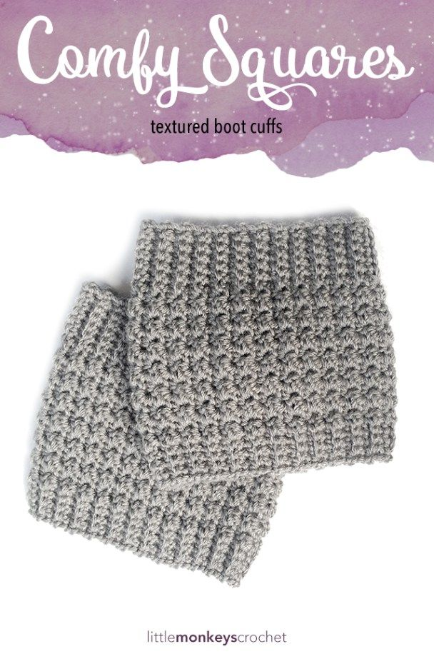 Comfy Squares Textured Boot Cuffs Crochet Pattern  |  Free Boot Cuffs Crochet Pattern by Little Monkeys Crochet                                                                                                                                                                                 More