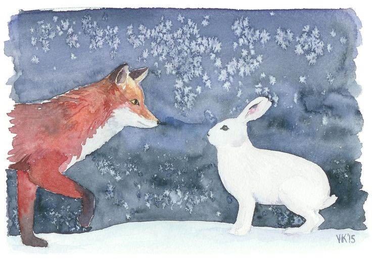 Fox and a rabbit. A friendly encounter under the stars. Christmas card / unique watercolor painting by Virpi Kivinen (check Etsy shop called EarlyMorningWalk). #christmascard #holidays #watercolor #painting #finland #fox #rabbit #stars
