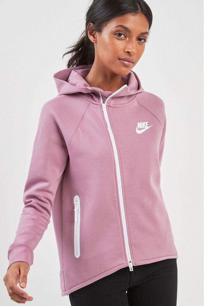 Womens Nike Tech Fleece Fill Zip Cape Hoody Purple
