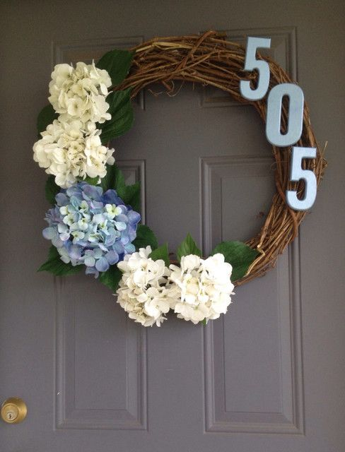 Blue and White Hydrangea Wreath with House Numbers by Bow Me Some More  contemporary-wreaths