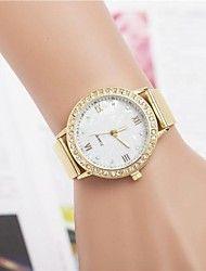 Mujer Reloj Casual Cuarzo Acero Inoxidable Banda Destello Dorado – USD $ 6.99
