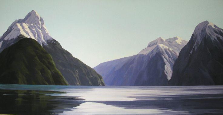 Acrylic on canvas, 'Milford Sound, NZ' by Jane Sinclair