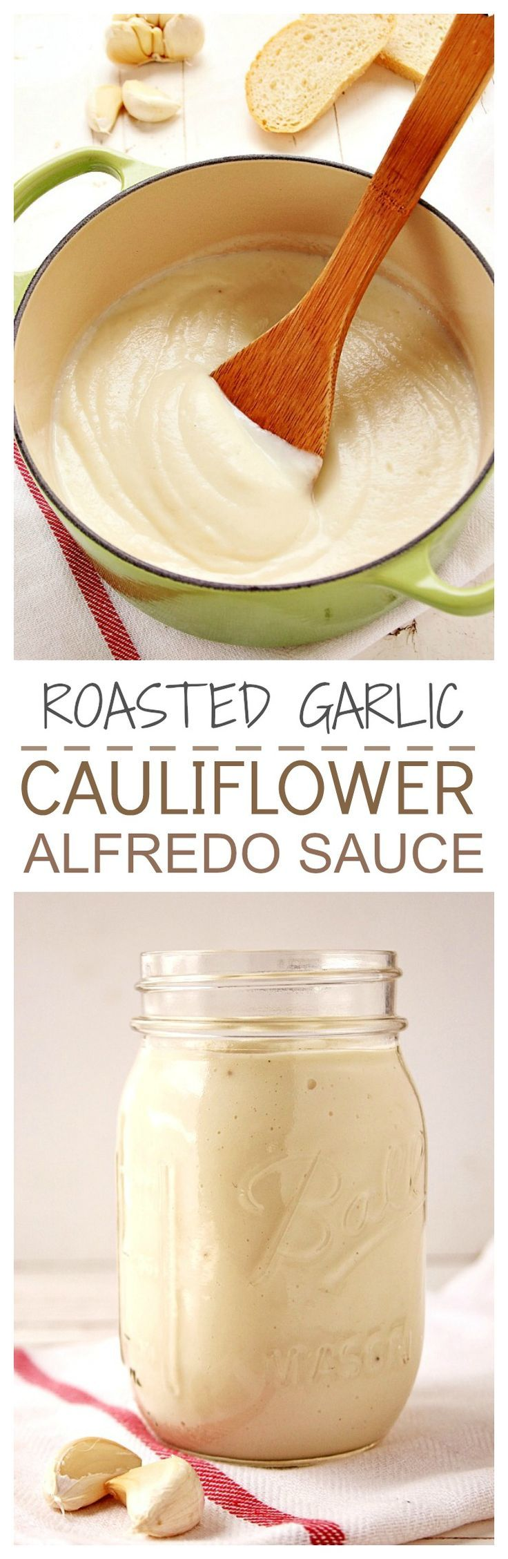 Healthy sauce made with cauliflower and roasted garlic with an addition of Parmesan. We can't stop eating it! Great on pasta and pizza!