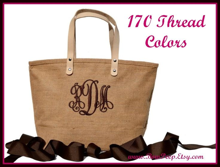 Monogrammed Natural Color Jute Tote Bag - Personalized Natural Burlap totes - Beige, Sand, Beach, Tropical - jute classic summer purse. $21.95, via Etsy.