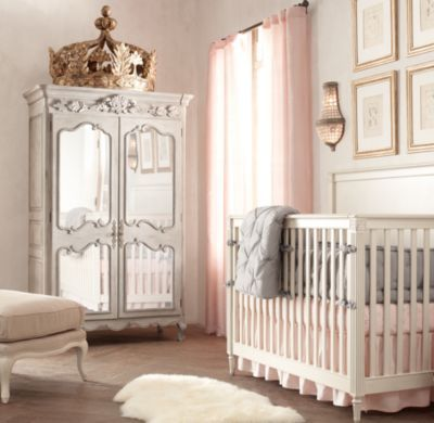 Gilt crown bed canopy wall d cor restoration hardware for Nursery crown canopy